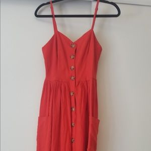 Ruby Red Button Up Dress